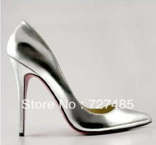 Fashion classic ol pointed toe fashion high-heeled shoes silver japanned leather sexy stiletto all-match genuine leather shoes