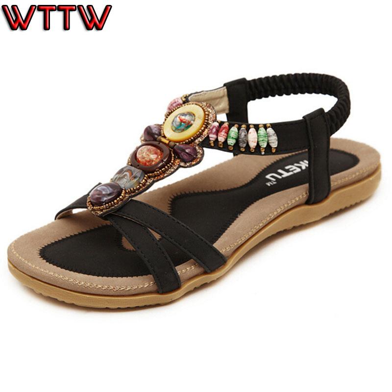 free shipping new 2016 s Ladies Summer Bohemia Beach Flip Flops  woman sandals flat heel soft bottom women sandal size 35-42<br><br>Aliexpress