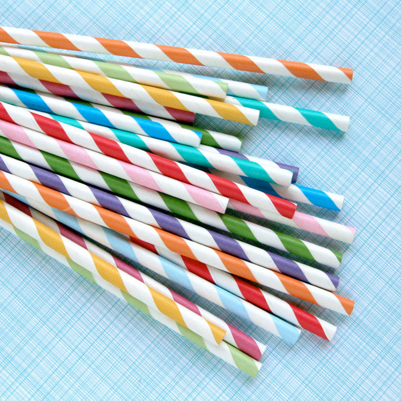 Free Shipping 50pcs/lot of 2 colors Paper Party Drinking Stripped Straws for Birthday Wedding Parties Supplies(China (Mainland))