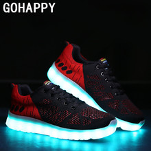 Fashion White Black RED Flat men LED Casual Shoes 2016 New summer knitting Led Shoes Men 7 colors Light Shoes  chaussure homme