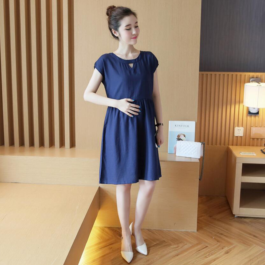 Elegant Pregnant Women Summer Solid Linen Dress Knee-lenght Nursing Maternity Dresses Pregnancy Breast Feeding Clothes HMA027(China (Mainland))