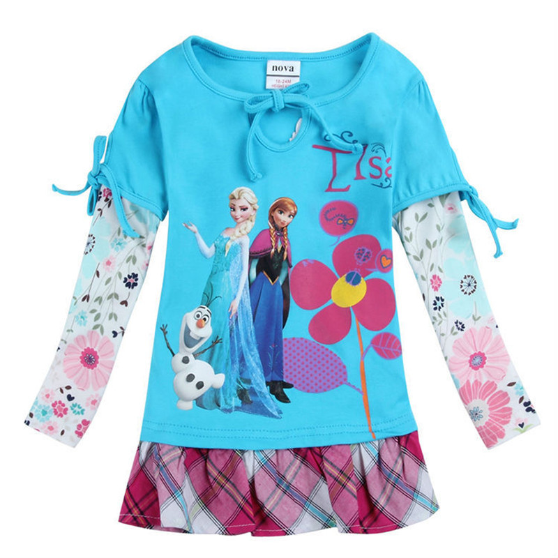Elsa dress long sleeve costume flower kids clothes cotton toddler girl dresses causal children princess party dress girl top(China (Mainland))