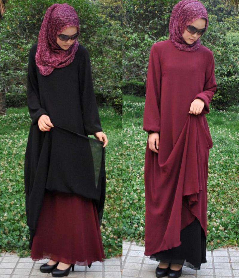 2015 Limited Muslim Design, Islamic Clothing for Women Soft Thin Two Layer Composite Silk Abaya Dress,islamic Abaya, Jilbab,(China (Mainland))
