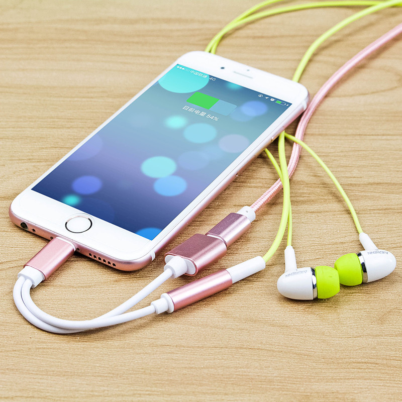 2 in 1 For Apple iPhone 7/7 Plus Adapter Headphone Lightning USB Charging Charger AUX Cable Lightning to 3.5mm Female Converter(China (Mainland))