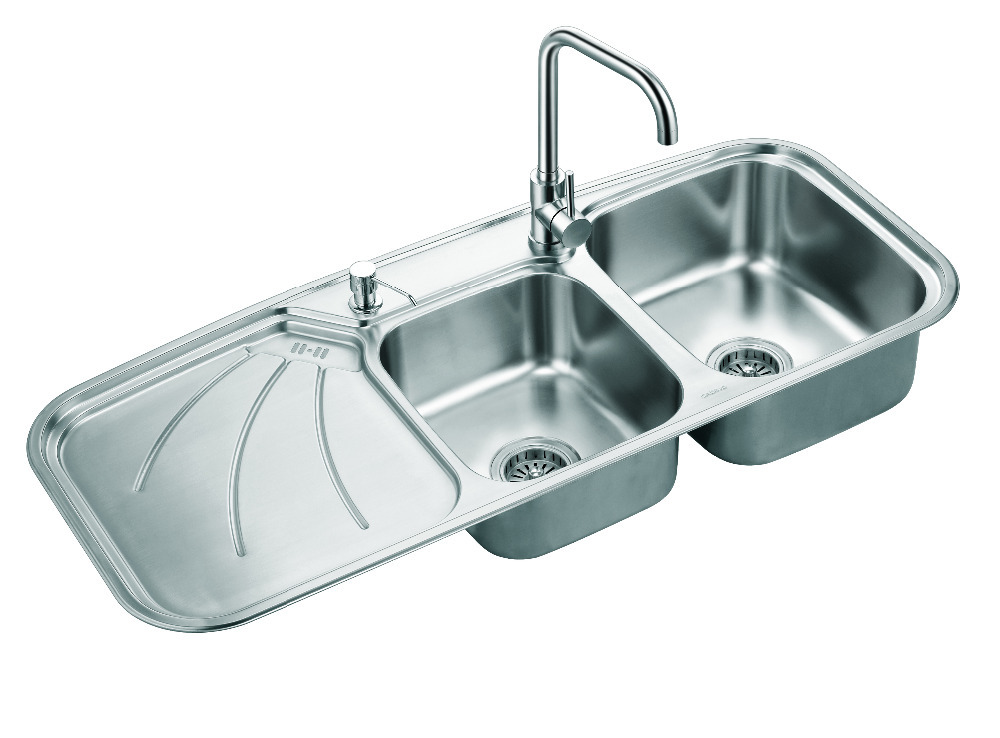 Triple Sink Faucet : Sink Vegetables Basin Stainless Steel Sink Triple Bowl Kitchen Sinks ...