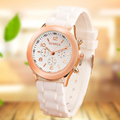 2017 14 color Brand Women s Watches Plated metal dial Dress Sports Watch Ladies Men Silicone