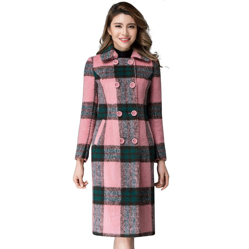 Women Winter Pink Plaid Wool Coats 2016 New Autumn Plus Size Long Sleeve Double Breasted Woolen Overcoats Manteau Femme 1811(China (Mainland))