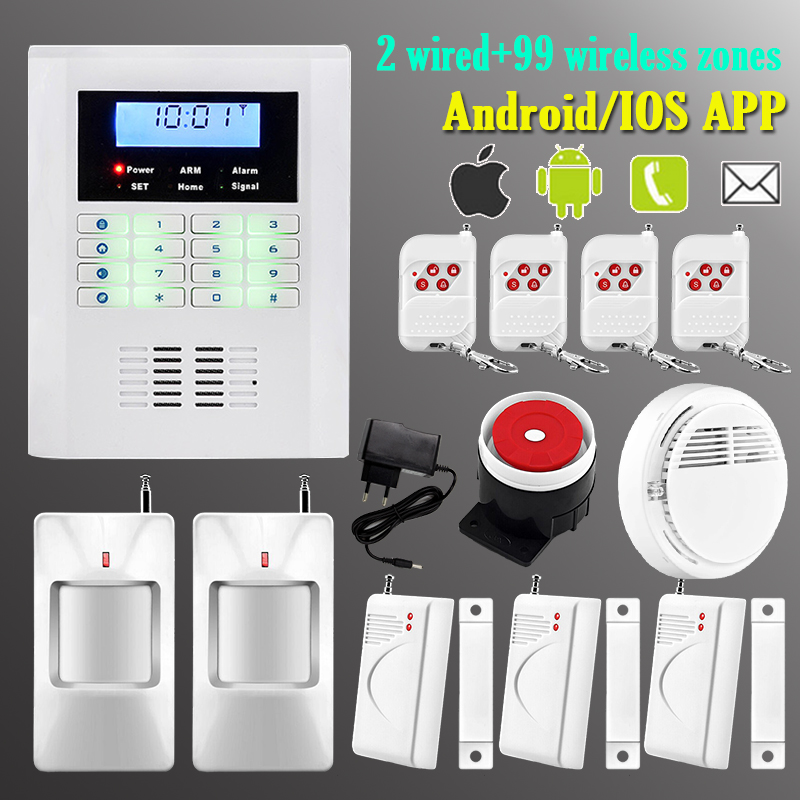 Wireless GSM PSTN Dual network Home Intelligent Alarm System Quad Band Support iOS Android Application SMS Auto-Dial Call<br><br>Aliexpress