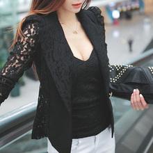 2015 New Womens long sleeve lace crochet lapel blazer short Jacket Suit Blouse Tops