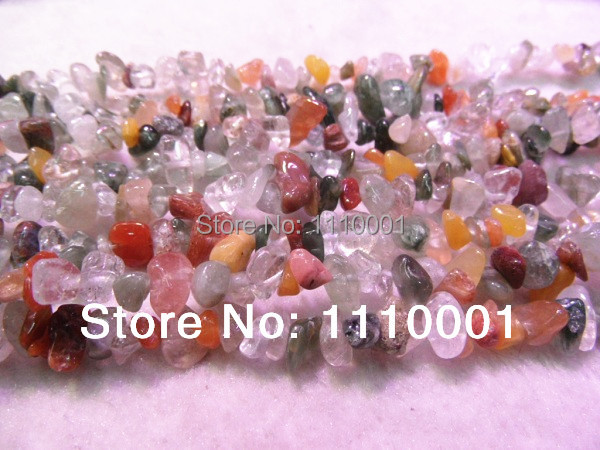 Top Offer 5-8mm Natural Milticloured Hair Quartz chips-free shipping(China (Mainland))