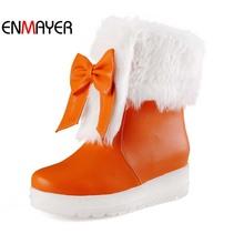 ENMAYER Botas de Nieve Caliente Zapatos Nuevos Calientes! Dedo Del Pie redondo Bowtie Chica Botines Zapatos Mujer Botas de Plataforma Negro Blanco Naranja Grande Size34-43(China (Mainland))