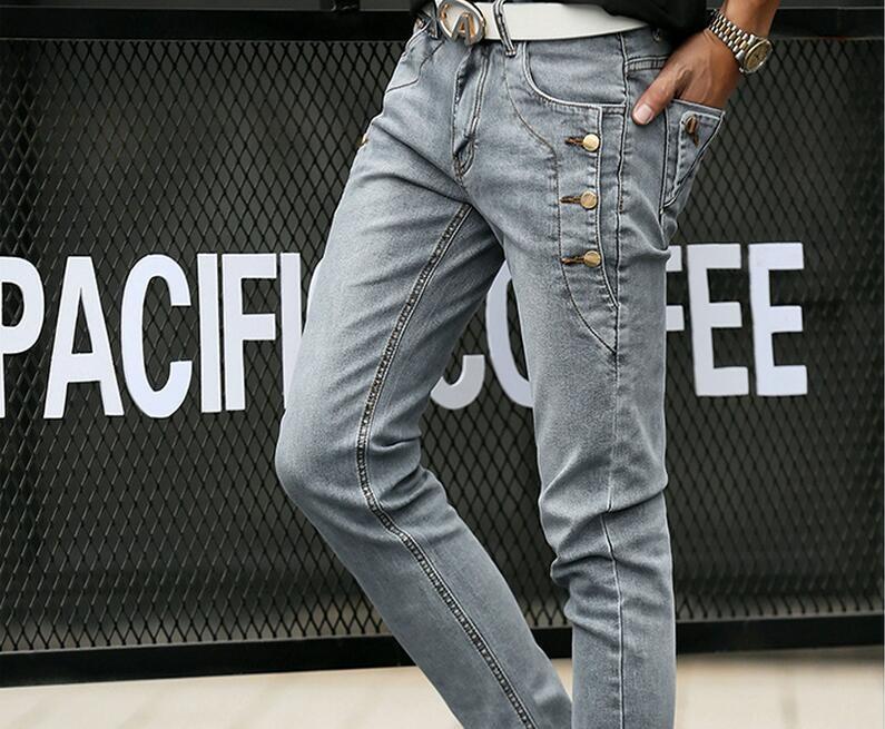 Скидки на 2016 мужская Тощий slim fit досуг хлопок джинсы/Мужской строки пряжки, украшенные карандаш брюки/мужская Жан тонкий Homme Случайные брюки