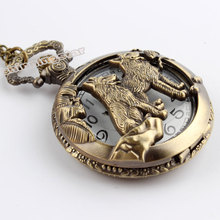 Free shipping Bronze Wolf Hollow Quartz Pocket Watch Necklace Pendant Women Men s Gifts P256
