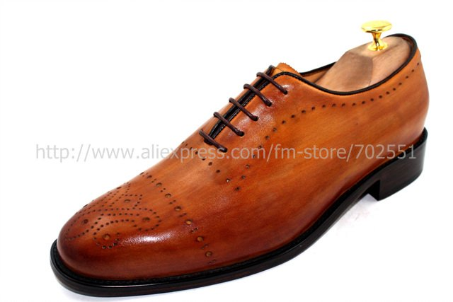 Free shipping custom handmade genuine calf leather mens oxford shoe color brown No.OX186 adhesive craft<br><br>Aliexpress