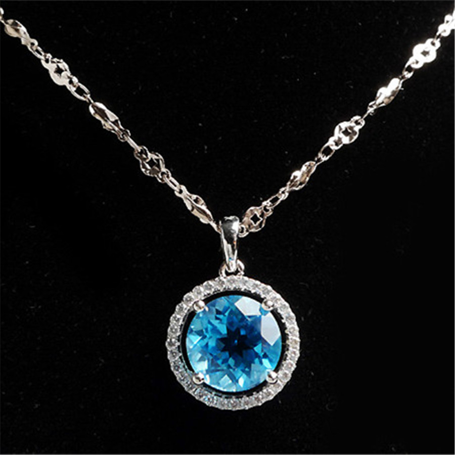 Fashion 925 Sterling Silver Zircon Jewelry Pendant For Necklace Charms Suspension Natural Blue Topaz Round Crystal Pendant(China (Mainland))