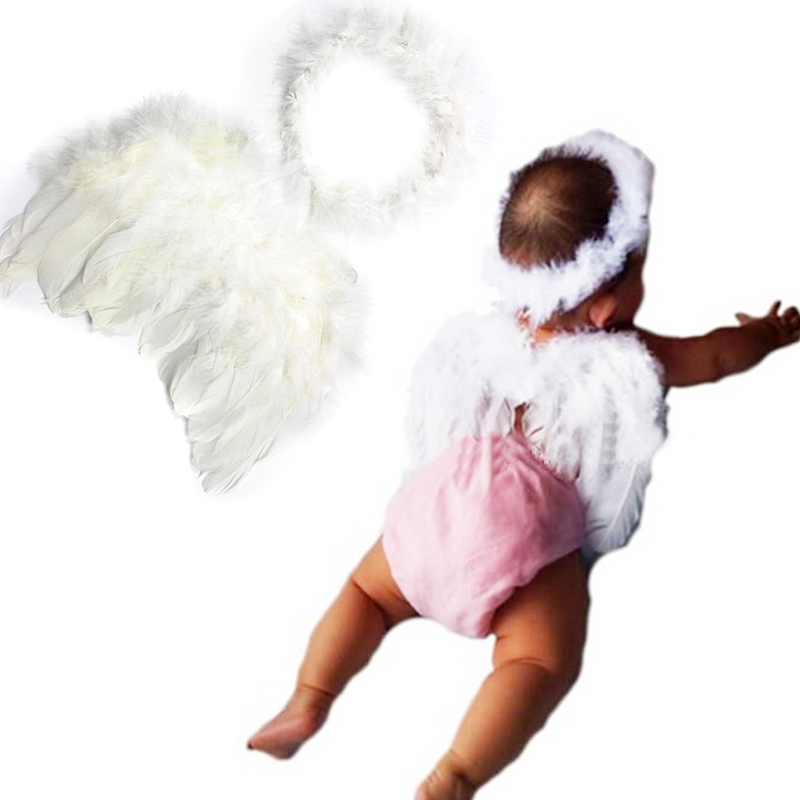 New 1set Infant Newborn Photo Prop Baby Kids Angel Fairy Feather Wing Costume for Children's Christmas Present Items(China (Mainland))