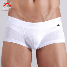Sexy panties male solid color breathable mesh low-waist male panties trunk underwear white