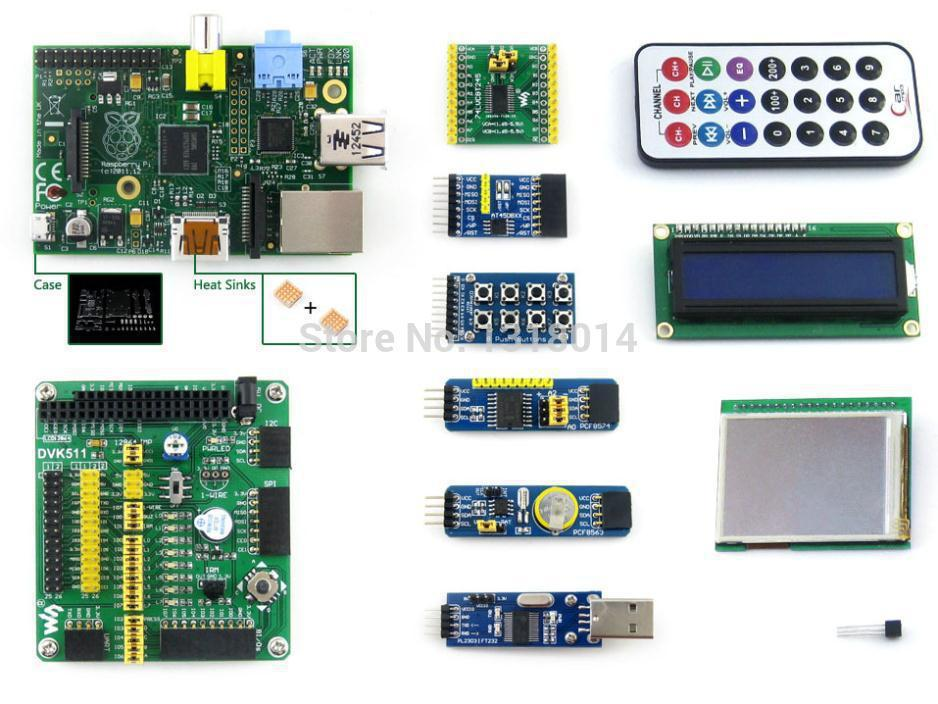Raspberry Pi Model B 512MB RAM+10 Accessory Modules Kits+LCD+DVK511 with I2C+SPI+8IO+UART+case H+heat sinks = RPi B Package B(China (Mainland))