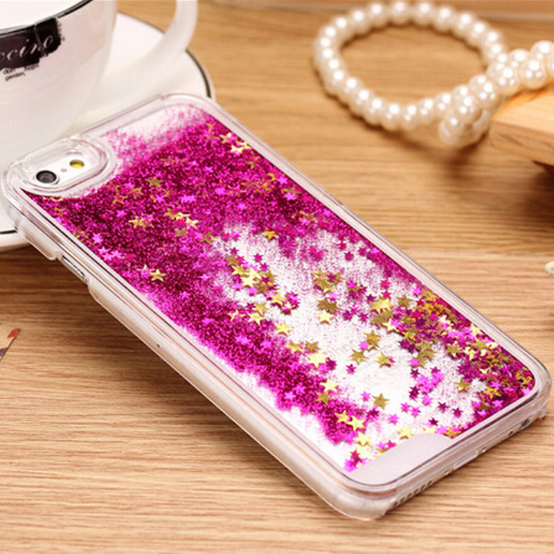 For iphone 5C New Clear Cellphone Back Cover Case Dynamic Liquid Glitter Sand Quicksand Star For iphone 5C Phone cases J0083(China (Mainland))