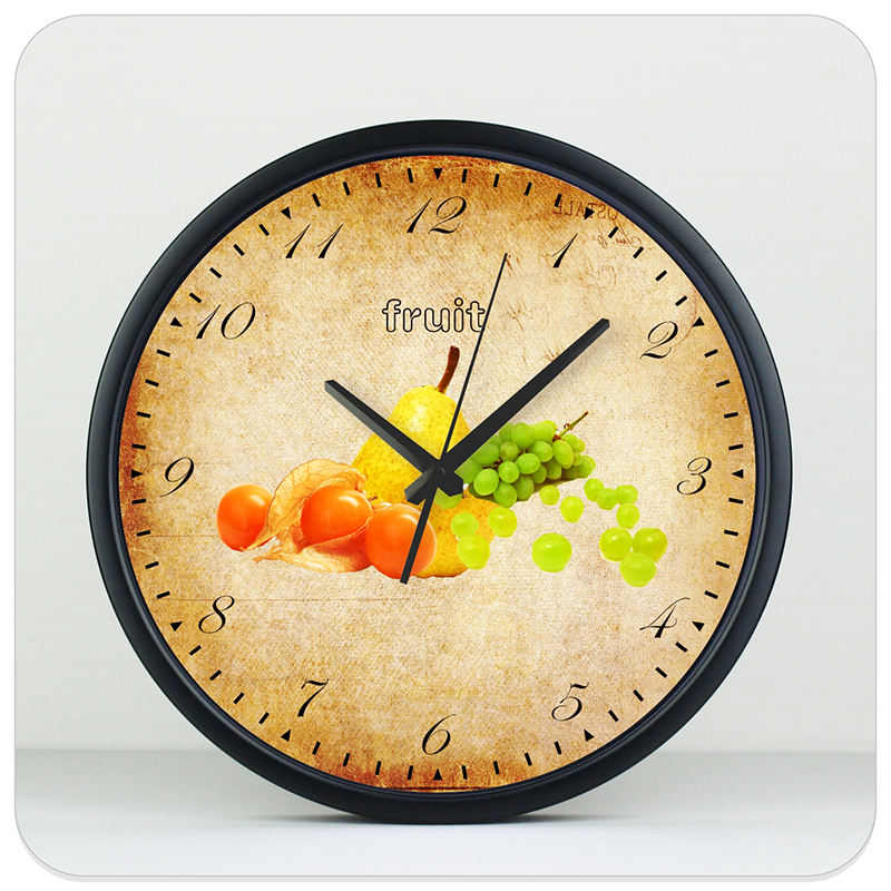 fruit kitchen decoration wall clock modern design absolutely silent home decoration wall clock metal case wall clock watch(China (Mainland))