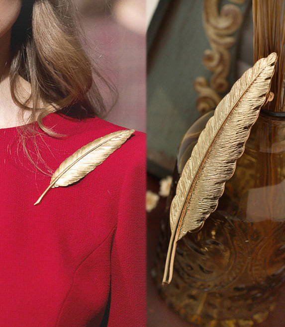 2016 Gold Feather Suit Women Broaches Version Leaves Hijab Pins Wedding Brooch Men Brooches Pins Flower Lapel Pins For Women(China (Mainland))