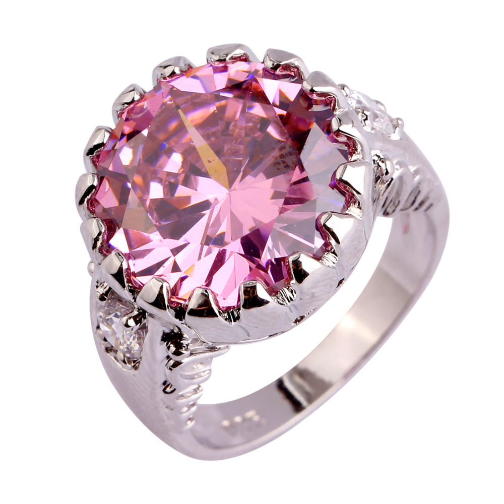 2015 Engagement Fashion Style Pink Sapphire White Topaz 925 Silver Ring Size 6 7 8 9 10 Jewelry For Women Free Shipping(China (Mainland))