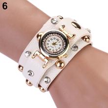 Popular New Design Punk Unique Crystal Wrap Faux Leather Studs Bracelet Watch NO181 5V2U 3Y3FD