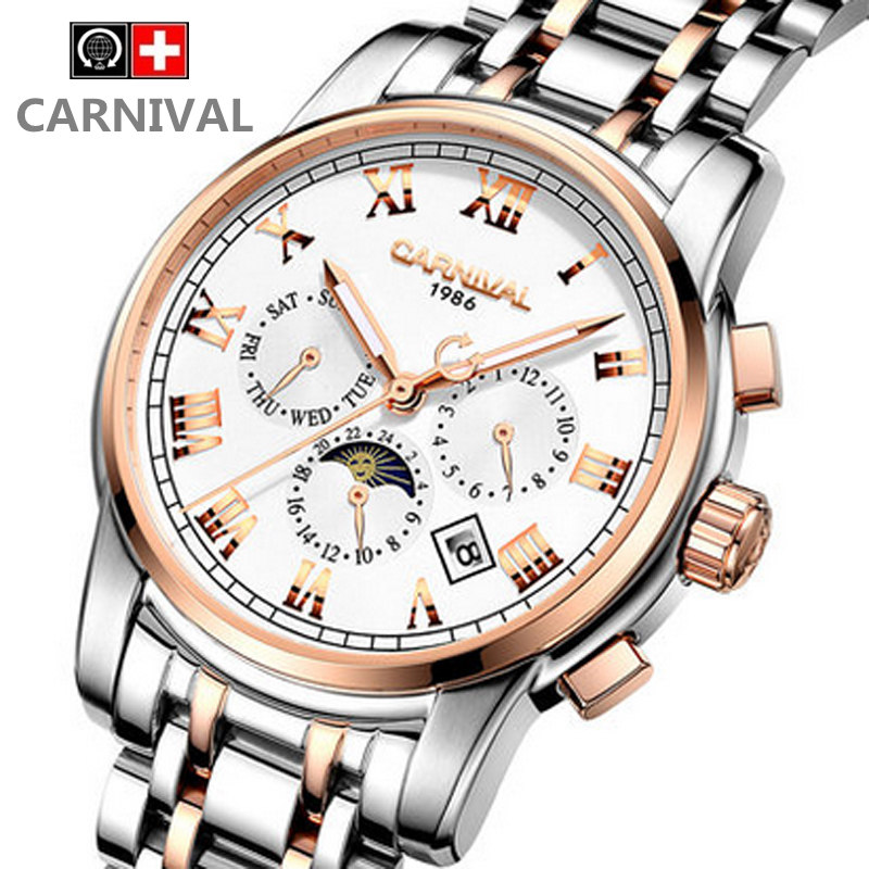 Watch male mechanical watch carnival fully-automatic men's watch stainless steel luminous waterproof watch male watch