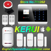 KERUI English/Spanish TFT color Display Android or IOS APP Touch keypad GSM Alarm System GSM&PSTN Dual Net Security Alarm System