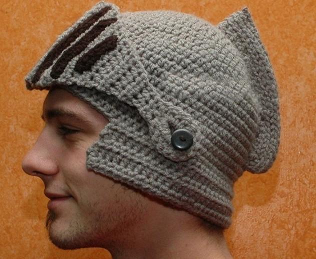 2015 Novelty New Roman Knight Helmet Caps Cool Handmade Knit Ski Warm Winter Hats Men Women's Gift Funny Party Ski Mask Beanies(China (Mainland))