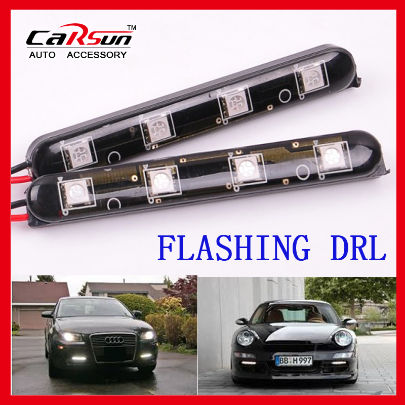 2X4LED 12V/24V Car/Truck/Motorcycle Flashing Lights Decorative Lamp LED Day Running Light LA-530-4(China (Mainland))