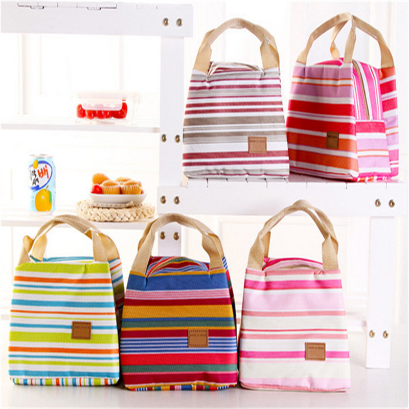 2015 Thermal Portable Insulated Cold Canvas Stripe Picnic Totes Carry Case Lunch Bag S376-A<br><br>Aliexpress
