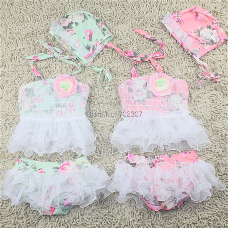 Baby girl flower Swimwear Children lace swimwear baby two pieces 2 colors SM-24