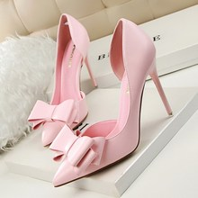 New Summer Women Pumps Sweet Bow High-heeled Shoes Thin Pink High Heel Shoes Hollow Pointed Toe Stiletto Elegant Sansal G3168
