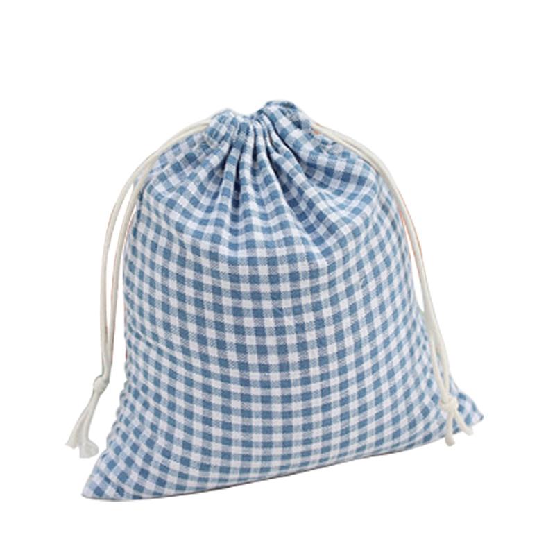 Storage Bags Blue Plaid Cloth Original Literary Drawstring Pouch Bags Cotton Candy Gift Bags B106(China (Mainland))