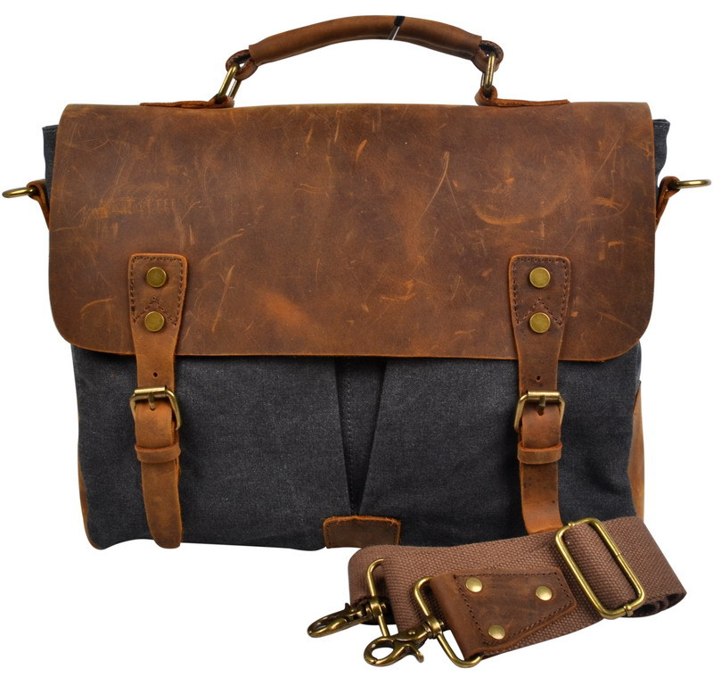 VEEVAN Fashion Vintage Canvas & Genuine Lleather Men Messenger Bag Shoulder Hand Bags High Quality Business Bag Handbag(China (Mainland))