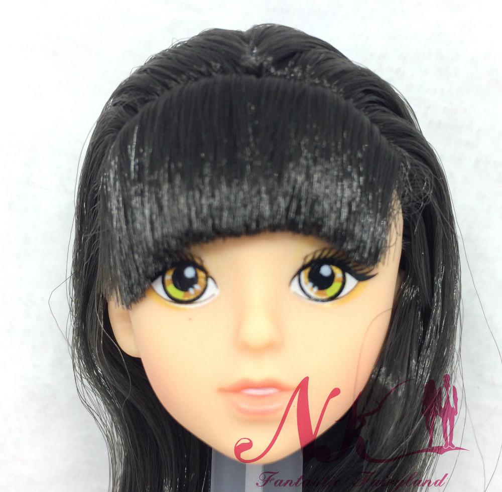 NK One Pcs Doll Vogue Doll Head BlackHair DIY Equipment For Barbie Kurhn Doll Finest Lady' Present Kids DIY Toys 024G