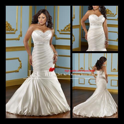 Buy wholesale plus size mermaid appliqued for Plus size wedding dresses size 28