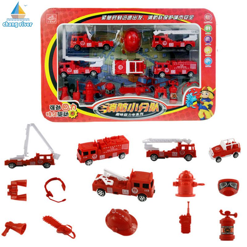 2017 Hot Selling Toy Car Model Children Fire Truck Set Gift Pull Back Christmas Present Mini Original Packaging 1:48 1/Set TY026(China (Mainland))