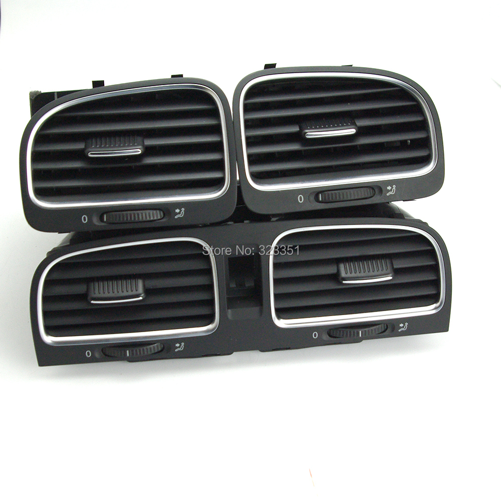 Фотография OE Set Chrome Front Left Right Dashboard Air Outlet Vent 5K0 819 728 5K0819728K 5KD819703 5KD819703J For VW Golf GTI MK6