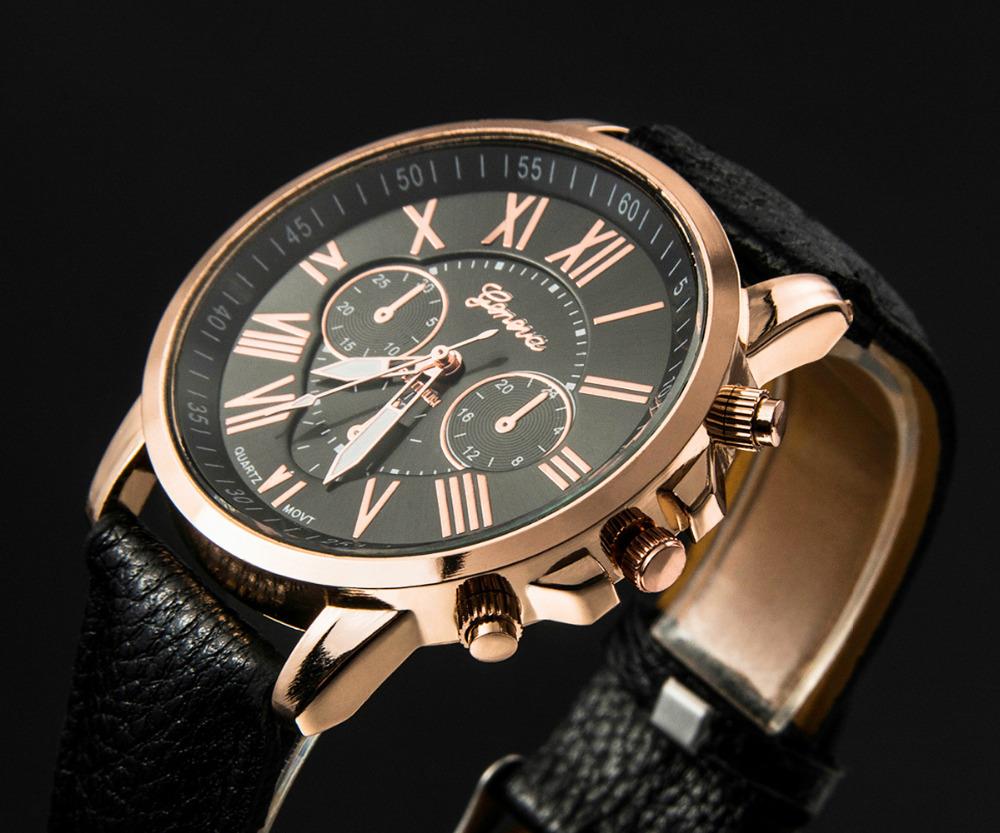 Casual optimum Man Clock Brand Geneva Watch Women Popular Quartz Watch Leather Strip Roman number Relogio Feminino Gift Relojes(China (Mainland))