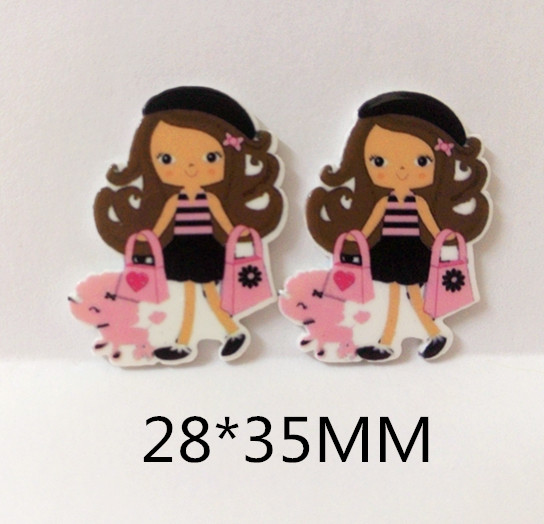 Free shipping 50pcs/lot 28*35MM hairbows inspired Paris girl with poodle resin planars(China (Mainland))