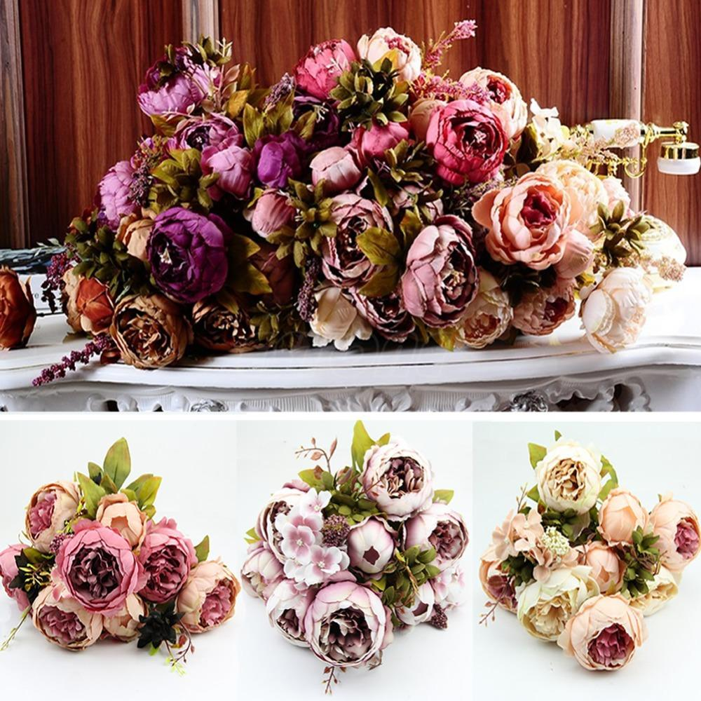 1 Bouquet 10 Heads Vintage Artificial Peony Silk Flower Wedding Home Decor(China (Mainland))