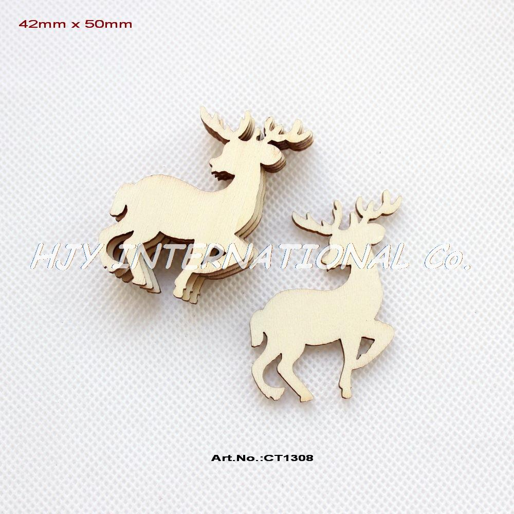 """(80pcs/lot) 50mm Blank Unfinished Wood Reindeer Christmas Ornaments Moose With Strings 2""""-CT1308(China (Mainland))"""