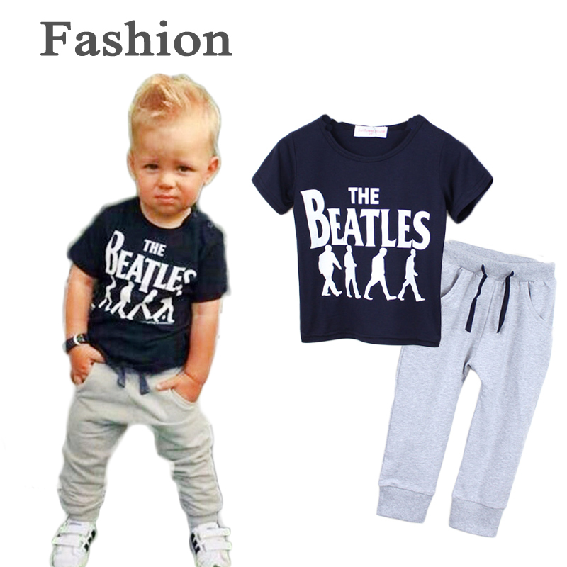 2015 New Summer style sports suit fashion baby boy clothing set Soft Breathable Modal Fabric kids boys tracksuit 2 piece set(China (Mainland))