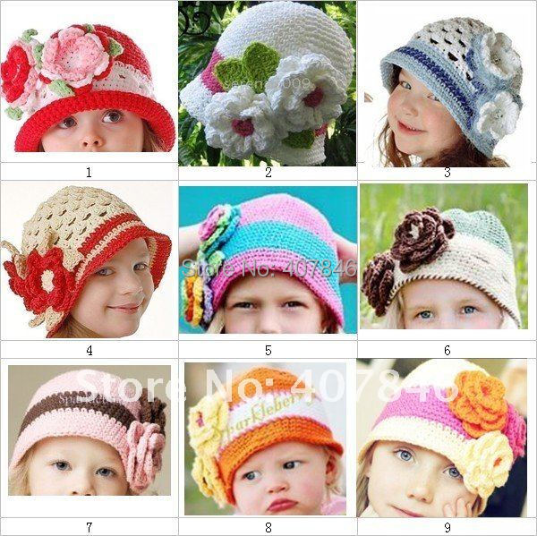 1pcs crochet baby big flower caps infant handmade hats girl beanie 0-3Y size cotton yarn mix design(China (Mainland))