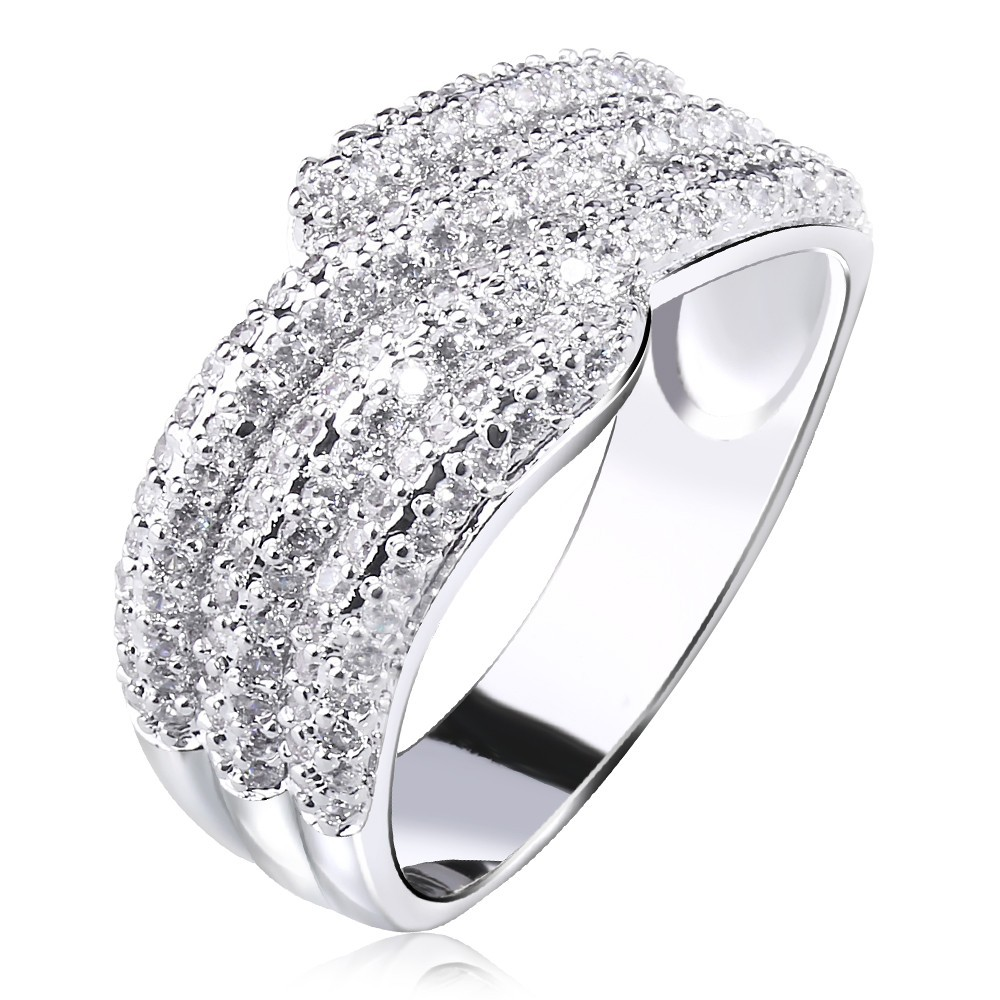 Women Rings' Secret Platinum Plated Finger Rings Woven Look Luxury Quality Cubic Zirconia Engagement Ring Brass Made Lead Free(China (Mainland))