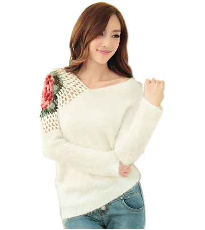2016 autumn and winter sweater basic sweater female loose pullover crochet cutout rose basic sweater(China (Mainland))