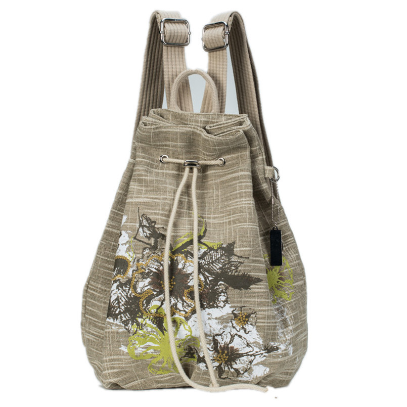 Hot Sale Chinese style printing backpack mochilas feminina linen drawstring backpacks embroidery backpack girl shoulder bags