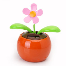 New Hot Selling Moving Dancing Solar Power Flower Flowerpot Swing Solar Car Toy Gift Home Decorating Plants(China (Mainland))